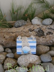 Πρωτότυπη μπομπονιέρα. Μπομπονιέρα βάπτισης αγόρι μπαουλάκι, ξύλινο με θέμα ναυτικό χειροποίητο.