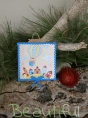 Μπομπονιέρα Βάπτισης. Μπομπονιέρα βάπτισης αγόρι, ξύλινο καδράκι με θέμα αερόστατο χειροποίητο.