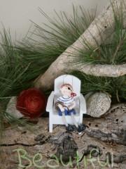 Μπομπονιέρες Βάπτισης. Μπομπονιέρα βάπτισης αγόρι, ξύλινο καρέκλα με πειρατή.